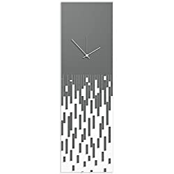 Metal Art Studio Surreal Wall Clock 'Grey Pixelated Clock-White Hands' by Adam Schwoeppe - Techy Style Decor Abstract Accent Piece on Acrylic