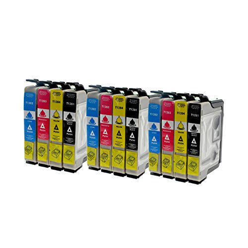 12 Tintenpatronen kompatibel zu Epson T1281 - T1284 für Epson Stylus Office BX 305 FW Plus Stylus S 22 Sylus SX 125 235 435 - Schwarz je 14,5ml, Color je 11,5ml
