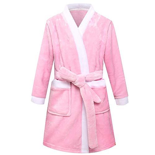 LEYUANA Kinder Bademäntel, für Jungen Nachtwäsche Flanell Baby Roben Pyjamas für Mädchen Kleidung Teenager Pyjamas Kinder Nachtwäsche Robe Home Wear 4T-120 Pink