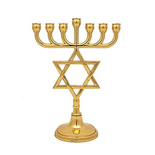 Menora mit Davidstern in der Mitte - Jerusalem aus Gold- Siebenarmiger Leuchter aus Messing in Gold. Höhe - 16 cm, Breite - 13 cm. Aus Israel