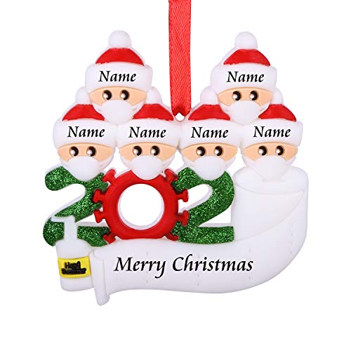 AKUDY Personalized 2020 Christmas Ornament Kit with Toilet Paper, Customized Family Name Christmas Tree Decorating Set Creative Friends Gift (6 People)