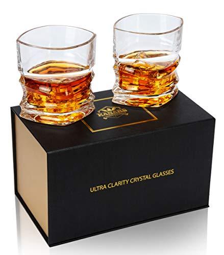 KANARS 2 Piezas Vaso de Whisky, Juego de Whiskey de Cristal Sin...