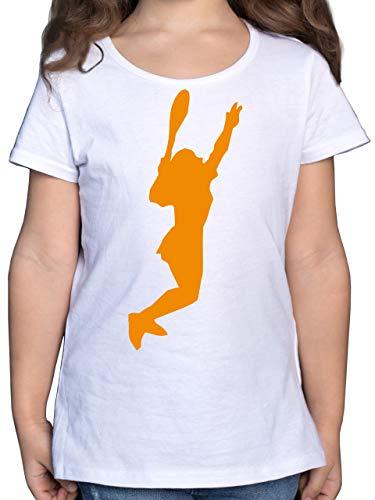 Shirtracer Sport Kind - Tennis gelb - 116 (5/6 Jahre) - Weiß F131K - Mädchen Kinder T-Shirt