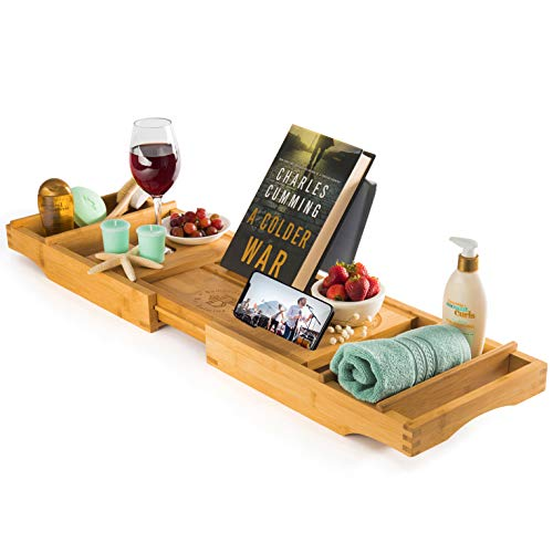 of bath caddies Luxury Bamboo Bathtub Tray Caddy - Expandable and Nonslip Bath Caddy with Book/Tablet and Wine Glass Holder Idea