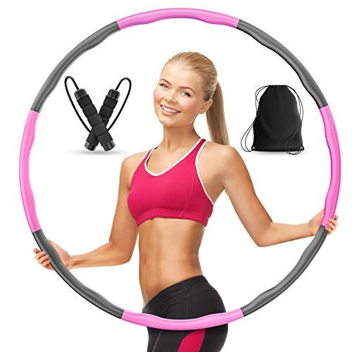 AthleticPro Hula Hoop Reifen Erwachsene [0.75-1kg] - Steckbarer Hullahub Reifen zum Abnehmen [6-8 Teile]- Fitness Hula-Hoop Reifen inkl.Springseil