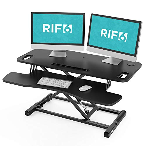 RIF6 Adjustable Height Standing Desk Converter - 37.4 Inch Wide Laptop Riser or Dual Monitor Workstation with Handles - Easily Sit or Stand with Gas Spring Lift - Black