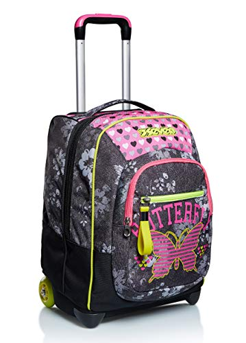 Trolley Seven, Flying Dreams , Nero, 2 in 1 Zaino con Cross-Over System, Scuola & Viaggio