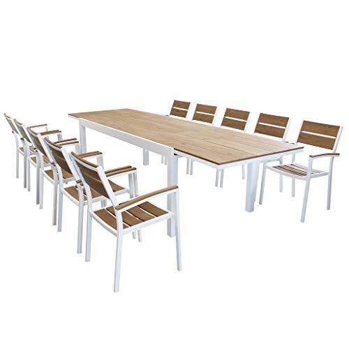 MilaniHome Set Tavolo Giardino Allungabile Rettangolare 200/300 X 100 con 10 Poltrone in Alluminio Bianco E Polywood da Esterno
