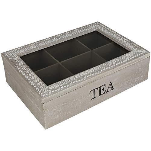 Teekiste 6 Fächer Shabby chic Teebox Tee Teekasten Teedose Teebeutelbox Teebeutelkiste