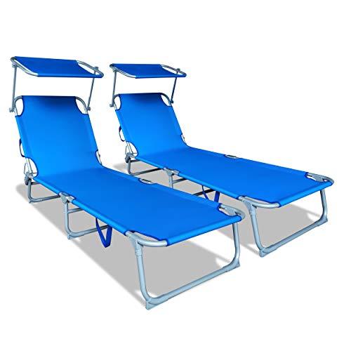 VOUNOT Lot de 2 Chaise Longue Bain de Soleil avec Pare Soleil | Transat Pliable avec Parasol | Bain De Soleil inclinable en Polyester | Charge Max 110KG | Chaise Longue réglable