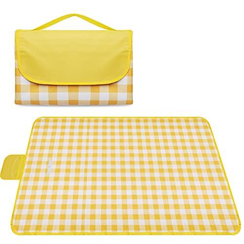 Onlyesh Outdoor Picknickdecke, 200x200 wasserdichte Strand Picknickmatte, große Picknickdecke für Strand, Park, Camping, Wandern, Familienkonzerte, Grasausflüge, Gelb