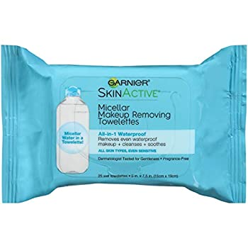 Makeup Remover Face Wipes for Waterproof Makeup by Garnier SkinActive Micellar Gently Removes Makeup and Cleanses Skin 25 Count