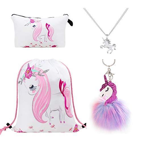 DRESHOW 4 Stück Süße Einhorn Geschenke für Mädchen - Einhorn Kordelzug Rucksack/Schminktasche/Halskette/Anhänger Schlüsselanhänger