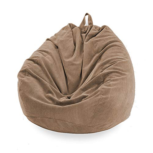 Funda Puff Pera SIN Relleno Cubierta de Sillón Sofá Perezoso Silla de Puf Tumbona Funda de Pana para Puf Bolsa de Frijol Bean Bag para Adultos y Niños Accesorio de Hogar para Muebles (Marrón, L)
