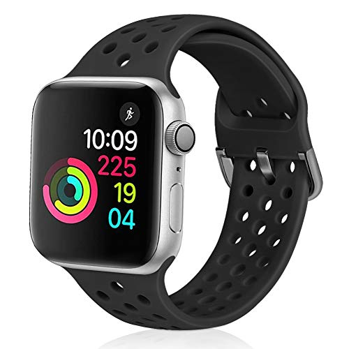 XFYELE Compatible with Apple Watch Band 38mm 40mm, Soft Breathable Sport Silicone Replacement Strap Compatible for iWatch Series 6, 5, 4, 3, 2, 1 for Women and Men (Black, 38mm/40mm)