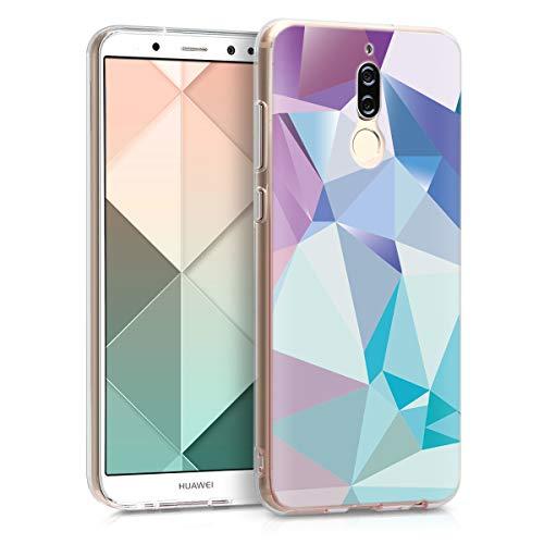 kwmobile Cover Compatibile con Huawei Mate 10 Lite - Back Case Custodia in Silicone TPU Trasparente Geometrie Blu Chiaro/Rosa/Blu
