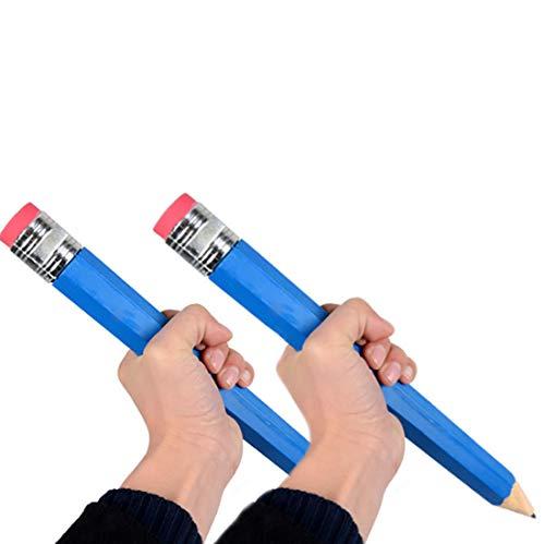 Riesiger Bleistift 2 PCS Zufällige Farbe Extra Groß Bleistift mit Radiergummi Buntstift aus Holz Jombo Bleistift Kinder Spielzeug