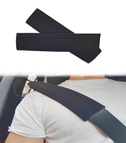 ASARAH Gurtpolster Gurtschutz Gurtschoner Polster für Kinder, Babies und Autofahrer Autogurt mit Klettverschluss Velours schwarz - 2 Stück