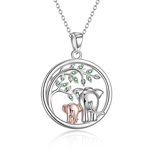 YFN Sterling Silber Elefant Halskette Baum des Lebens Zirkonia Halskette Schmuck Geschenke für Mama Frauen Mädchen (Elefantenbaum des Lebens Halskette)