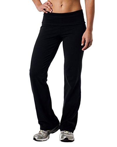 Alki'i Luxurious Cotton Lycra Fold Over Yoga Pants, Black M