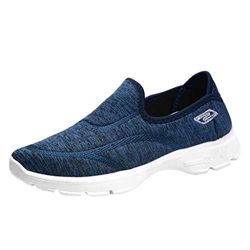 ZIYOU Sneaker Damen Beiläufige Müßiggänger Turnschuhe Flats Atmungsaktive Stretch Cloth Schuhe Outdoorschuhe(Blau,39 EU)