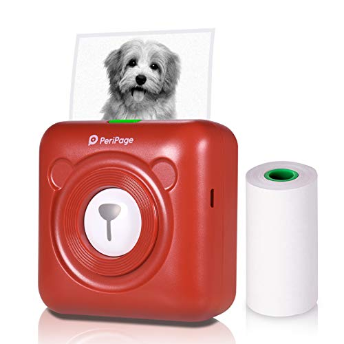 Aibecy PeriPage Mini Fotodrucker Wireless BT Thermodrucker Picture Label Memo Receipt Drucker mit USB-Kabel für Android iOS Smartphone Windows (Rot)