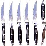 Premium Serrated Steak Knives 6-Piece Laser Cut Ultra-Sharp Chrome Steak Knife, Cutlery Set, Dinner Knives Gift Set By Mozzbi
