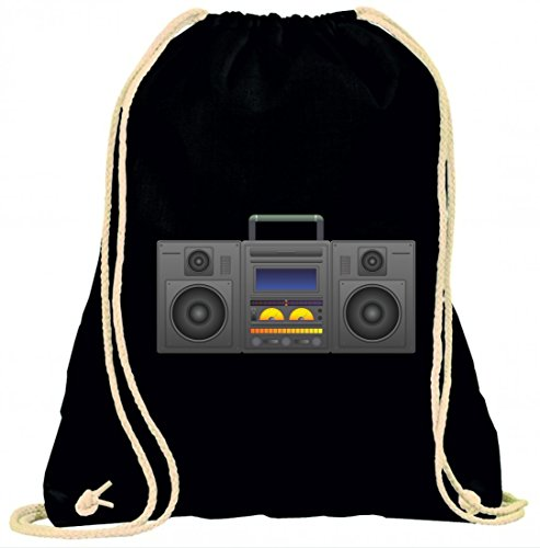 Druckerlebnis24 Turnbeutel Boombox- Ghetto Blaster- Audio Player- CD Spieler- Musik Player- Radio- BLÄSER- Stereo- Ghetto- Musik- Box- Retro mit Kordel - 100{c3ad739e1d4bffd5bd3e99bbf6feaa8b6819186651121521fe842f28105948b0} Baumwolle- Gymbag- Rucksack- Sportbeutel