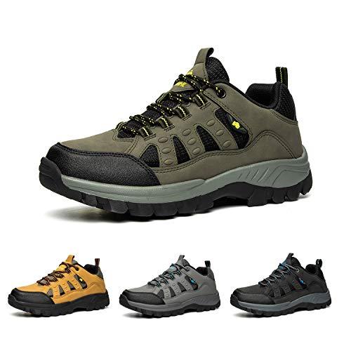 Bandkos, scarpe da trekking da uomo, leggere, traspiranti, sportive, outdoor, Hiking, antiscivolo, nero, grigio, verde, cachi, taglia 39-47,, Verde (verde), 45 EU