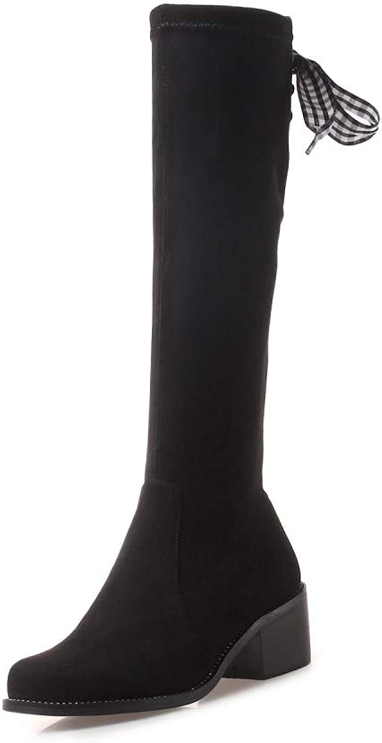 Nine Seven Suede Leather Women's Low Chunky Heel Zip Up Cute Handmade Elegant Bow Decorated Over The Knee Boots