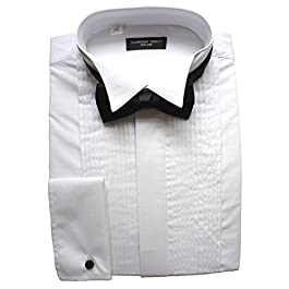 Clermont Direct Poly-Cotton Pleated Dress Shirt Wing Collar