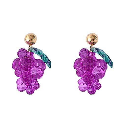 不規則な甘い紫色のブドウアクリルガラスビーズ18Kゴールドメッキグリーンリーフチャームイヤリングタッセルドロップスタッドイヤリング