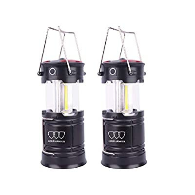 Gold Armour LED Camping Lantern Flashlight with Magnetic Base, Emits 500 Lumens, Survival Kit for Emergency, Hurricane, Power Outage (2Pack)