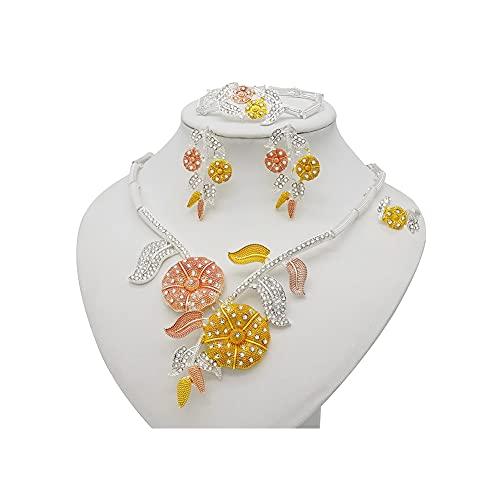 XiaoG Conjunto de Collar de Hoja de Color dobai de Color Dubai, Conjunto de Joyas Nupciales de Boda de Cristal (Color : BJ882)