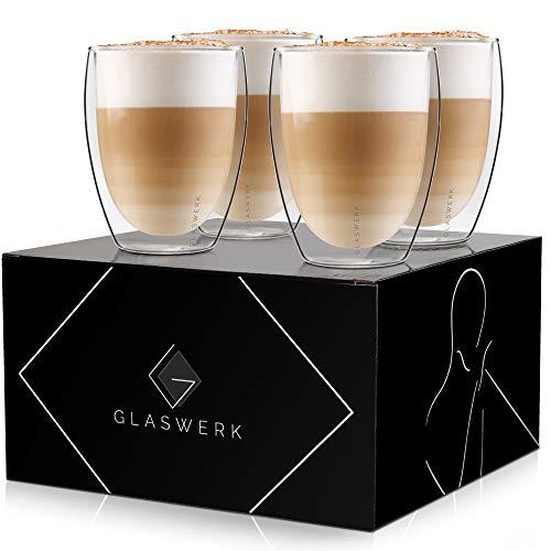 GLASWERK Design Gläser - doppelwandige Gläser aus Borosilikatglas - spülmaschinenfeste Teegläser - hochwertige Thermogläser , für Latte Macchiato oder Cappuccino (4 x 330ml)