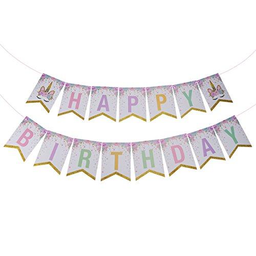 Toyvian Feliz cumpleaños Bunting Banner Papel Guirnalda Unicornio Fiesta temática Favores Suministros