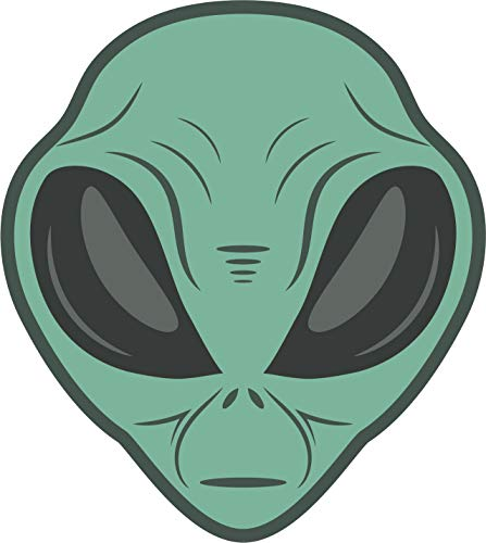 Cool Weird Extra Terrestrial Alien Head Cartoon Vinyl Sticker (8' Tall, Teal)