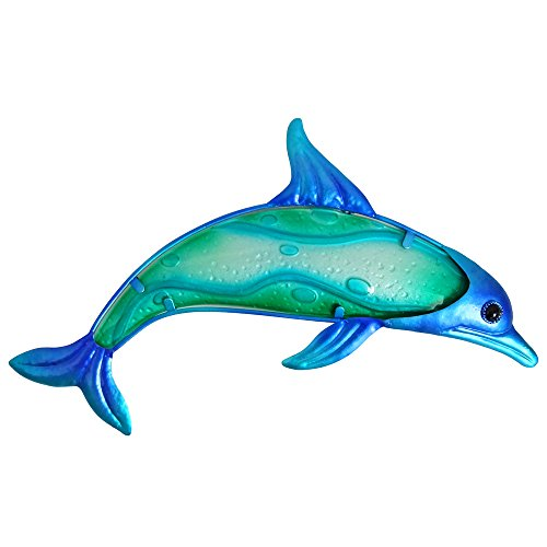Comfy Hour Under The Sea Collection 7' Blue Metal Art Dolphin Wall Decor