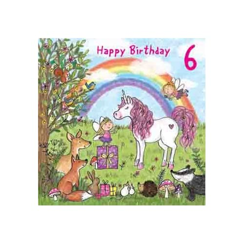 Twizler 6th Birthday Card For Girl With Magical Unicorn Fairies Rainbow And Glitter