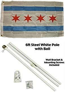 ALBATROS 2 ft x 3 ft 2x3 City of Chicago Illinois Flag White Pole Kit Gold Ball Top for Home and Parades, Official Party, All Weather Indoors Outdoors
