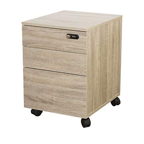 Cassettiera da Ufficio Armadio di archiviazione Armadio per ufficio in legno con serratura, 3 cassetti su ruote, mobile ufficio sotto la scrivania (Cachi)