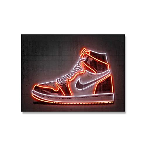 HHXX9 Jordan Sneaker Art Print Basketball Shoes Poster Street Wall Art Neon Canvas Painting Gift Idea Man Office Home Decoration-50X70cm 20x28 inch no Frame