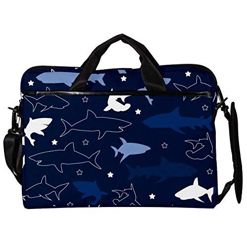 TIZORAX Laptop Messenger Schultertasche Sharks Pattern Computer Sleeve Notebook-Tragetasche 15-15,4 Zoll Handtasche