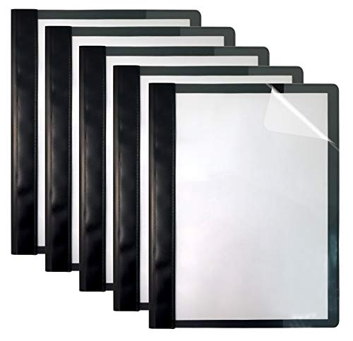 Ultra Durable Clear Front Report Covers, 25 Per Box, Letter Size, Black, Poly Back Cover, with Fasteners, Lay Flat, by Better Office Products, Box of 25