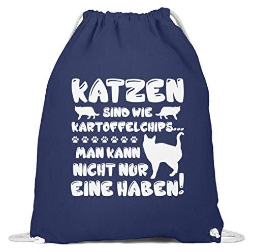 shirt-o-magic Katzenliebhaber: Eine Katze? Unmöglich! - Baumwoll Gymsac -37cm-46cm-Marineblau
