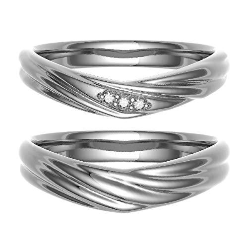 [ココカル]cococaru ペアリング 結婚指輪 シルバー 2本セット マリッジリング ダイヤモンド 日本製(レディースサイズ19号 メンズサイズ15号)