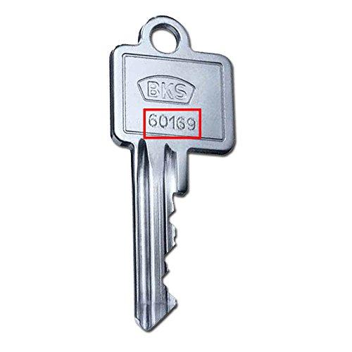 BKS Nachschlüssel Ersatzschlüssel Zusatzschlüssel für PZ 88 und PZ 89 - Schließungsnummern 50001 bis 80453 lieferbar - zusätzlicher Schlüssel für BKS Profilzylinder