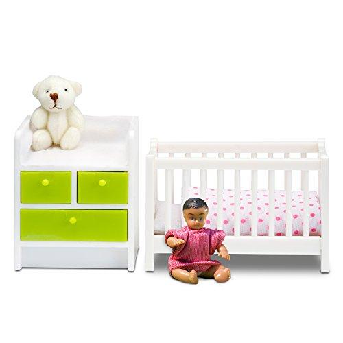 Lundby 60.2085.00 - lit bébé et Table à langer, Mini poupées avec Accessoire