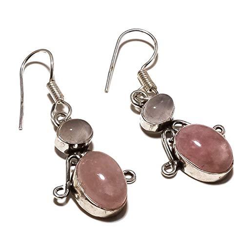 PENDIENTE HECHO A MANO de cuarzo rosa rosa de 1,5'de largo, joyería de arte chapada en plata de ley Tienda de variedad completa
