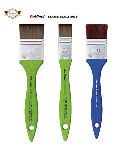 Vinci Serie 5073 Spalter Bürste, Kunstfaser, grün, Größe 20 mm, 40 mm, da Vinci Serie 5074, Größe 30 mm 3-teiliges Set, Made in Germany
